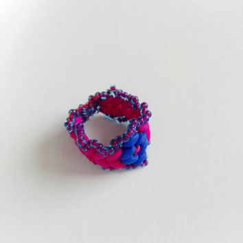 Uv ring, Goa ring, UV reactive ring, UV active ring, UV beaded ring, Uv blacklight reactive ring, Pink purple ring, Pink ring, Purple ring,