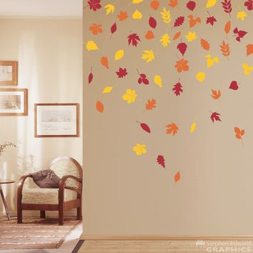 Leaves Wall Decal Set - 57 individual leaves in 3 different colors - Nature Decor