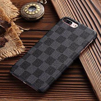 HeiL iPhone 7Plus 8Plus TPU (US Deliver Guarantee Fulfilled by Amazon) New Elegant Luxury PU Leather Checker Pattern Classic Style Cover Case for Apple iPhone7PLUS iPhonePLUS (Grey)