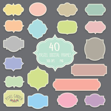 Pastel Digital Frames Clip Art Set. 40 Tags, Labels, Borders in Mint, Pink, Grey, Red. Birthday Cards, Invitations, Scrapbooking.