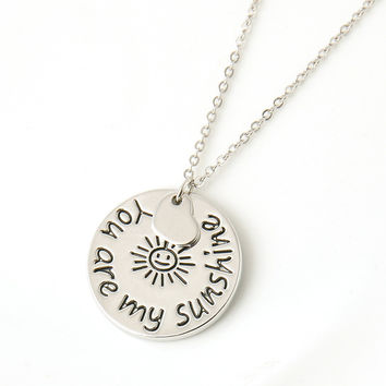 """2015 New Fashion Jewelry """"you are my sunshine"""" Letter Pendant Necklace women Necklace Love Gifts free shipping"""
