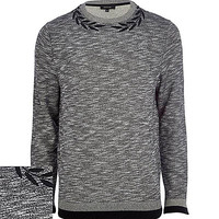 River Island MensGrey marl wreath neck sweatshirt