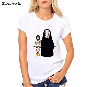Spirited away Kaonashi no face Anime cartoon t shirt women japanese harajuku female T-Shirt Miyazaki Hayao Totoro tshirt
