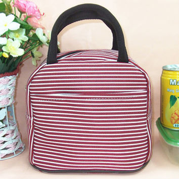 Red Striped Canvas Lunch Bag