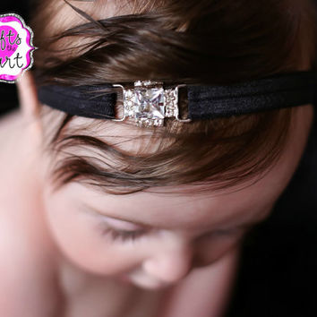 Rhinestone Headband - Metal Rhinestone Headband - Classy - Special Occasion - Clear Rhinestone Black Headband - Newborn Baby Child Adult