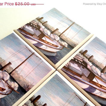 Sailboat Coasters, Ceramic Tile Set, Marina, Ocean Cover, Watercolor Painting, Rosie Brown, Table Protection