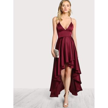 Maroon Polyester Plain Cami