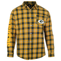Green Bay Packers Wordmark Basic Flannel Long Sleeve Shirt Sizes S-XXL w/ Priority Shipping
