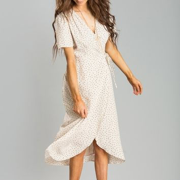 Lynette Cream Print Wrap Dress