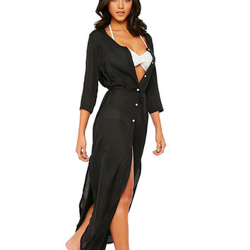 Long Sleeves Buttoned A-Line Slit Maxi Dress