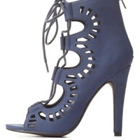 Lace-Up Cut-Out Peep Toe Booties by Charlotte Russe - Navy