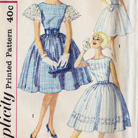 "1960s Junior Party Dress Vintage Sewing Pattern, Full Skirt, Summer Dress Simplicity 3347 bust 33"" uncut"