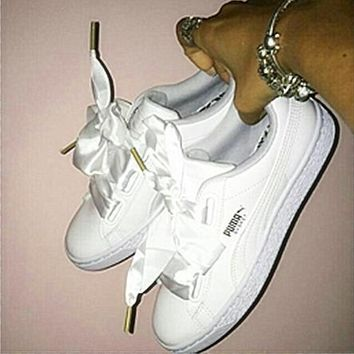 puma suede basket heart bow shoes flying angel white  number 1