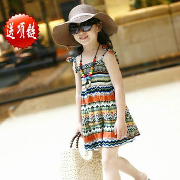 Baby Girls Dress with Necklace Children Graceful Printed Beach Dress Bohemian Style Girl Dresses J4U66