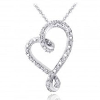 Sterling Silver 1/4ct Diamond Ribbon Heart Slide Necklace