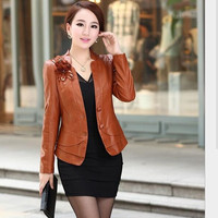 leather jacket women Autumn Winter 2014 Europe leather clothing female short design slim outerwear jacket good freeshipping