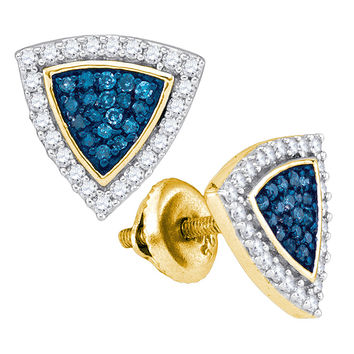 Blue Diamond Micro-pave Earrings in 10k Gold 0.5 ctw
