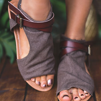 Walk And Talk Buckle Strap Detail Sandal (Brown)