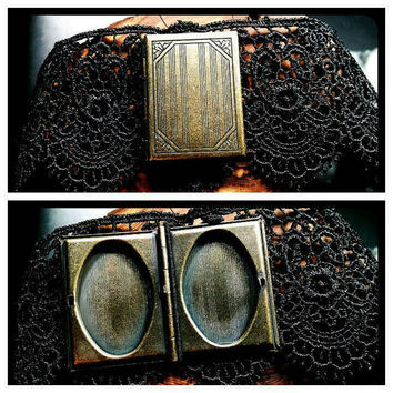 Handmade Book Locket Choker Bronze on 2 Inch Black Lace  Handcrafted Steampunk Necklace Gothic Jewelry Custom Length