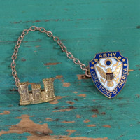 Tie Collar Pins U.S. Army Corps of Engineers + U.S. Army Eagle Coat of Arms Vintage Military