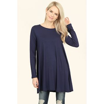 Long Sleeved Solid Tunic Top