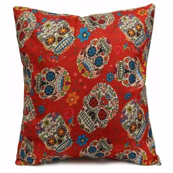 Colorful Mexican Day Of The Dead Sugar Skull Print Chair Pillow Case