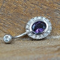 Tanzanite Purple Crystal Belly Button Ring