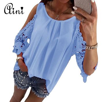 Womens Tops and Blouse Shirt 2018 Summer Top Casual Hollow Out Sleeve Off Shoulder Shirt Ladies Blouse Plus Size Boho Tunic Tops