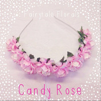 Candy Rose Floral Crown Bridal Wedding