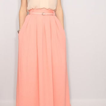 Peach skirt Women maxi skirt Chiffon skirt High waisted long skirt with pockets