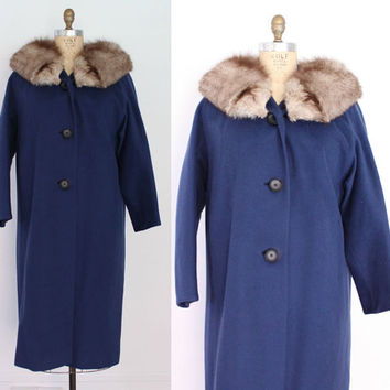 60s FOX Fur Collar COAT / 1960s Cadet Blue Wool Winter Coat Arctic Fox Trim L
