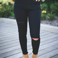 Black Destroyed Skinnies