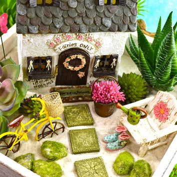 Fairy Garden Planter Kit ~ Fairy Cottage ~ Includes Fairy ~ Miniature Garden Set ~ Sand NOT Included ~ Fake Succulent Option at Checkout