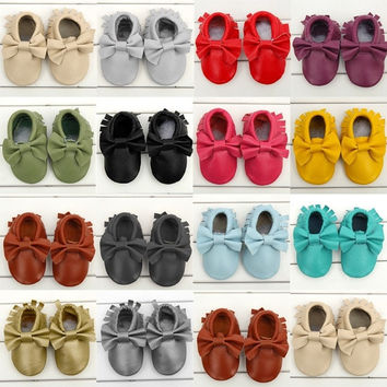 Cool Boys Baby Toddler Girls Soft Boeknot Moccasins Tassel Leather Shoes 0-24M [7670336838]