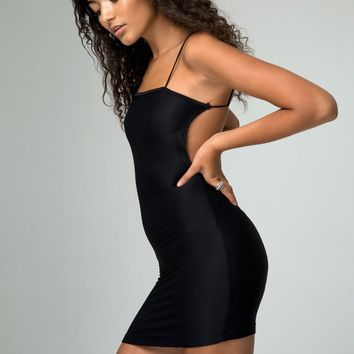 Pilcher Bandage Dress in Rib Black by Motel