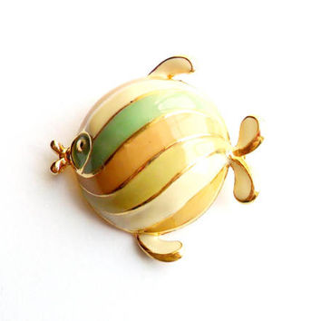 Vintage Striped Fish Brooch Gold Tone Pastel Mint Peach Yellow Cream Bubble Dome 1980s 80s Style Figural Broach Pin