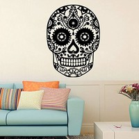 Wall Decal Vinyl Sticker Decals Art Home Decor Murals Sugar Skull Tattoo Face Makeup Patterns Damask Salon Patterns Bathroom Bedroom Dorm Decals AN22