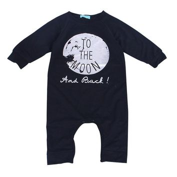 Melario 2016New Winter&Autumn Unisex Baby Boys&Girls Long Sleeve Rompers Baby Clothes No Sleep Letter/To The Moon Newborn Romper