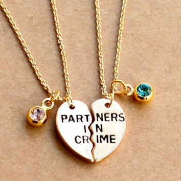 PARTNERS IN CRIME necklace, birthstone friendship necklace set, best friends, best bitches, broken heart set, sisters gift jwelry