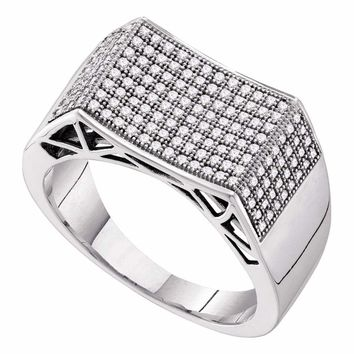 10kt White Gold Mens Round Pave-set Diamond Rectangle Concave Cluster Ring 1/2 Cttw