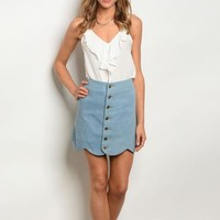 Scalloped Blue Skirt