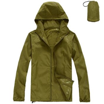Men's Windproof Skin Jacket Rain Coat Women Packable Jackets UV Protect for Camping Hiking Cycling Travelling Fishing Outing