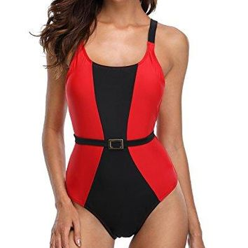 Anfilia Women Tummy Control One Piece Swimsuit Splice Backlesss Monokini Swimwear