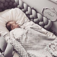 200CM Baby Crib Protector Knot Baby Bed Bumper Weaving Plush Infant Crib Cushion For Newborns Four Tied Bed Bumper Room Decor