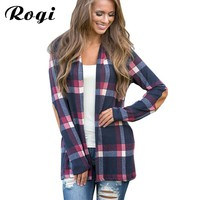 Rogi Fall 2017 Fashion Plaid Cardigan Women Casual Long Sleeve Knitted Cardigans Elbow Patchwork Knitting Sweater Coat Poncho