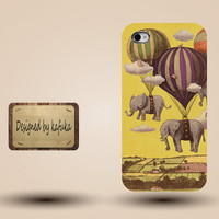 unique iphone case, i phone 4 4s 5 case,cool cute iphone4 iphone4s  5 case,stylish plastic rubber cases cover,balloon elephant  fly  p945
