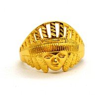 1-3165-h2 Gold Overlay Indian Head Ring for Men.