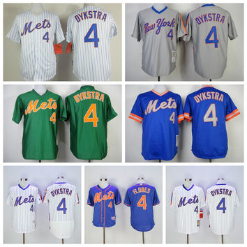 Throwback 4 Lenny Dykstra Jersey Baseball New York Mets Jerseys Flexbase Cooperstown Vintage Pinstripe Pullover Grey White Blue Green