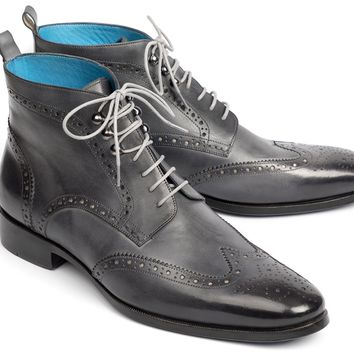 Paul Parkman (FREE Shipping) Wingtip Ankle Boots Gray Hand-Painted (ID#777-GRAY)