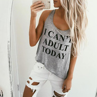 Cute Women's Casual Gray Scoop Neck I CAN'T ADULT TODAY Summer Tank Top